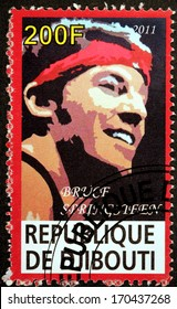 DJIBOUTI - CIRCA 2011: A stamp printed by DJIBOUTI shows image portrait of famous American musician, singer and songwriter Bruce Frederick Joseph Springsteen, circa 2011