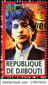 DJIBOUTI - CIRCA 2011: A stamp printed by DJIBOUTI shows image portrait of famous American musician, singer, artist, writer and songwriter Bob Dylan (Robert Allen Zimmerman), circa 2011
