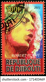 DJIBOUTI - CIRCA 2011: A stamp printed by DJIBOUTI shows portrait of English musician, singer and songwriter Robert Plant best known as the lead vocalist of the rock band Led Zeppelin, circa 2011