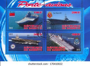 DJIBOUTI - CIRCA 2012: stamp printed by Djibouti, shows aircraft carrier, circa 2012