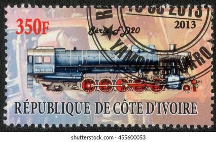 """DJIBOUTI - CIRCA 2013: A post stamp printed in Djibouti shows a series of images """"History of rail transport"""", circa 2013"""