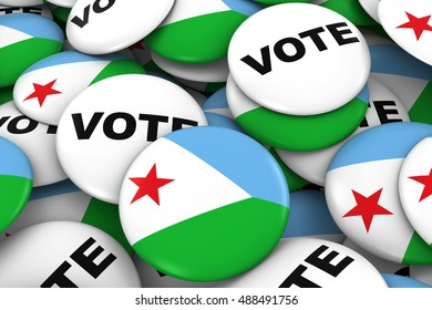 Djibouti Elections Concept - Djiboutian Flag and Vote Badges 3D Illustration