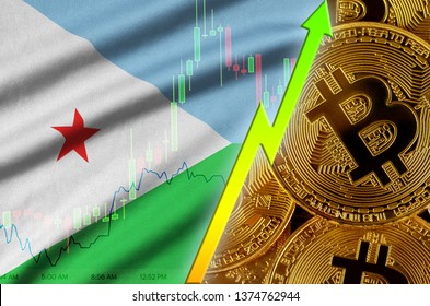 Djibouti flag and cryptocurrency growing trend with many golden bitcoins