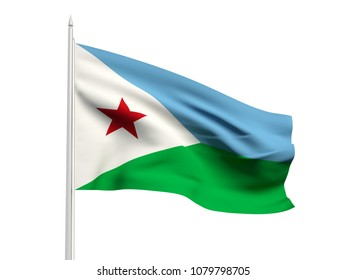 Djibouti flag floating in the wind with a White sky background. 3D illustration.
