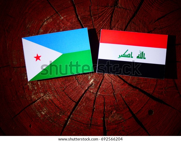 Djibouti flag with Iraqi flag on a tree stump isolated