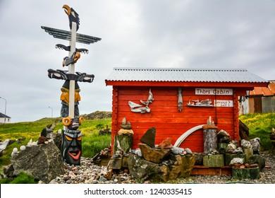 Djupivogur, Iceland - June 24, 2014: typical house or cabin in Iceland