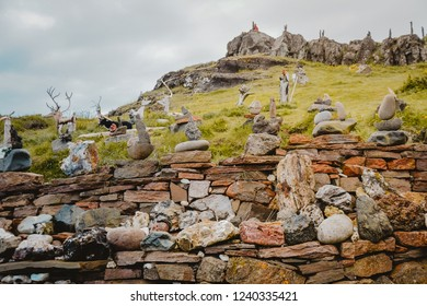 Djupivogur, Iceland - June 24, 2014: funny exhibition of stones and made animals.
