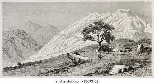Djurdjura mountains old view, Kabylia, Algeria. Created by Duhousset, published on Le Tour Du Monde, Paris, 1867