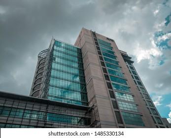 DLF IT Park, Rajarhat, Newtown, Kolkata, West Bengal/India - May 2019: Cloudy sky in monsoon , Tall glass buildings in Kolkata