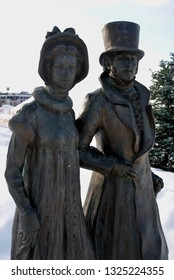 DMITROV, RUSSIA - MARCH 17, 2018: Alexander Pushkin and Natalia Goncharova. City sculpture in Dmitrov, old historical town in Moscow region, Russia. Popular landmark. Color winter photo.