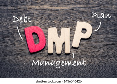 DMP wooden alphabets on wood background with text acronym (Debt Management Plan)