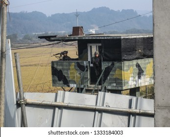 DMZ, South Korea. October 2012: South Korean soldiers standing guard at the DMZ as viewed from the South Korea side.