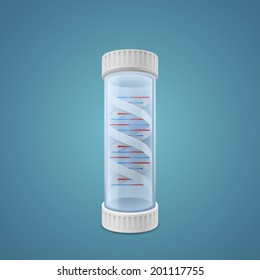 DNA in capsule on blue background