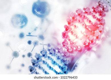 DNA cell on scientific background. 3d illustration