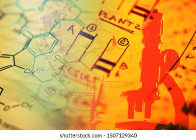 DNA data and laboratory tools. Science concept.