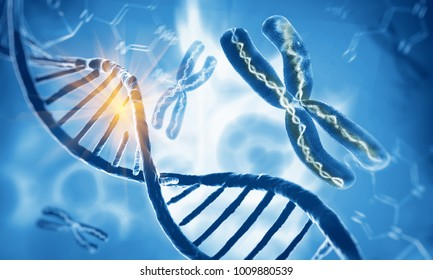 Dna double helix molecules and chromosomes, 3d illustration
