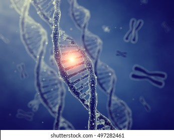 Dna double helix molecules and chromosomes , Gene mutation , Genetic code , 3d illustration