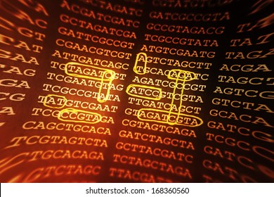 DNA encoding. Text with nucleobases. Pincushion lens use.