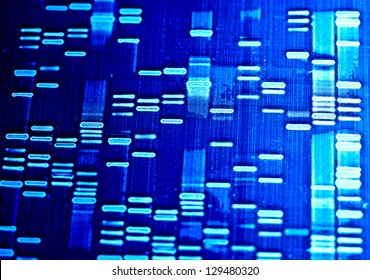 DNA fingerprint data on a paper. Macro image.
