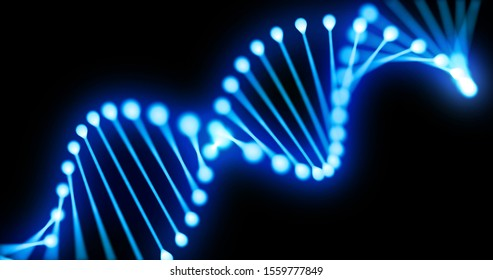 DNA gene helix spiral 3D loop, chromosome molecule cell of blue light on black background. DNA molecule or genome cell for molecular science and genetic medicine technology