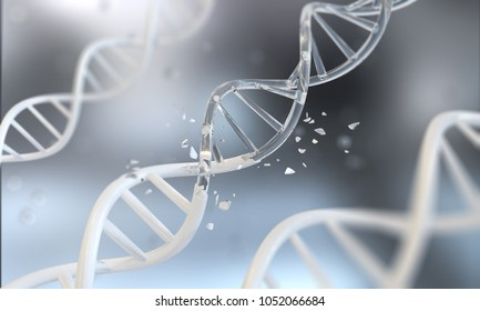 DNA helix for concept of Digital Genetic engineering and gene manipulation, Abstract atom or molecule structure for Science or medical background, 3d illustration.