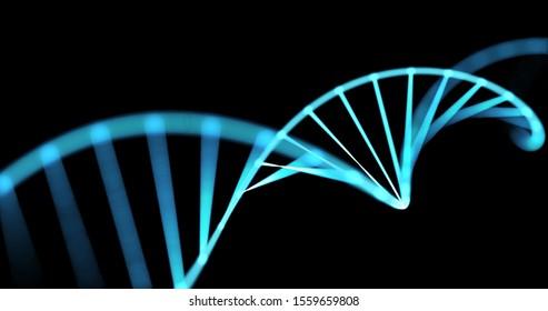 DNA helix, gene molecule spiral loop, 3D genetic chromosome cell. DNA molecule spiral of blue light on black background for molecular genetic science, genome biotechnology and health medicine