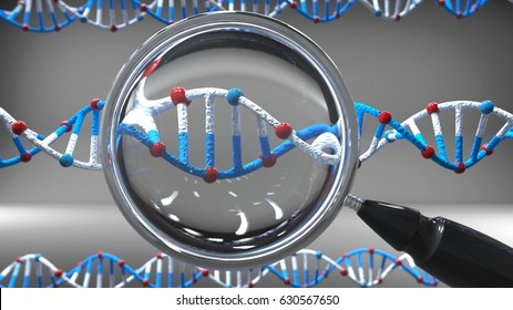 dna helix with magnifying glass, 3d render
