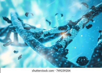 DNA helix, DNA strand, genome gene editing, helix decomposing, genome concept gene CRISPR editing strand sequencing background 3D render