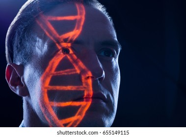 DNA heritage out of human chromosome as symbol for genetic research and genetic engineering in medicine