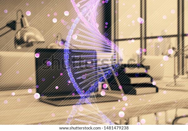 Dna Hologram Desktop Office Background Double Stock Image