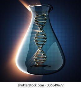 DNA model on blue background