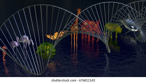 DNA molecule Biodiversity, variety of animals reflected in water.Close up view Side. DNA in foreground. 3d rendering