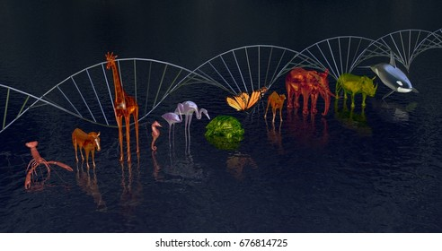 DNA molecule Biodiversity, variety of animals reflected in water.WIde view ,side DNA in Background. 3d rendering