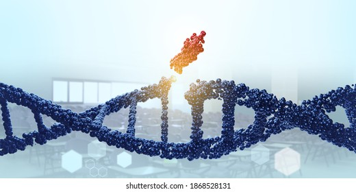 DNA molecule. Genetic editor, manipulating and modifying the DNA concept. Medical science 3D rendering