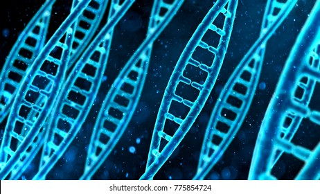DNA molecule macro, blue string on screen, biological research, genes