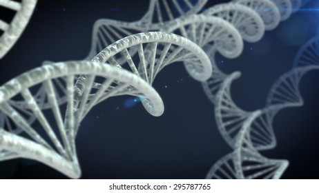 DNA molecules on the beautiful backdrop. 3D rendering