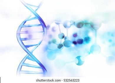 DNA Molecules on scientific background. 3d illustration