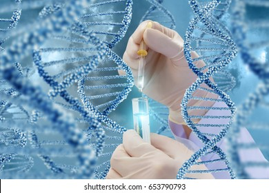 DNA research with a sample. Hand with a test tube on a DNA background.