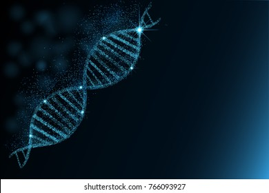 DNA sequence, DNA code structure with glow. Science concept background. Nano technology. Illustration, dark blue background with space for text