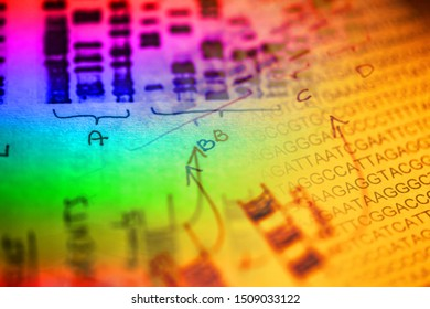 DNA sequence and other science data. Science concept.