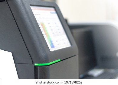 DNA sequencing machine equipment to determine the sequence of individual genes in science lab room in hospital or university laboratory.