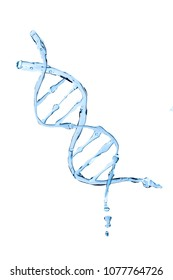 DNA shaped water isolated on white background. Photography of water manipulated shape in software