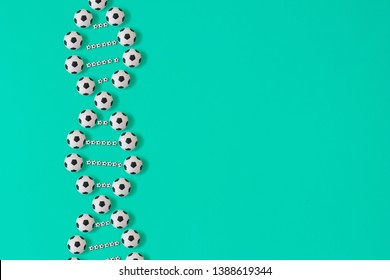 dna soccer ball print on blue background