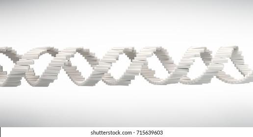 DNA strand 3D illustration - genetic research concept illustration