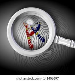 DNA strand coming out from fingerprint under magnifying glass / Fingerprint and DNA