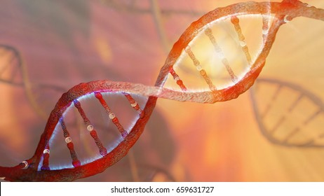 DNA strand helix concept, DNA research CRISPR gene editing, chromosome representation, 3D rendering