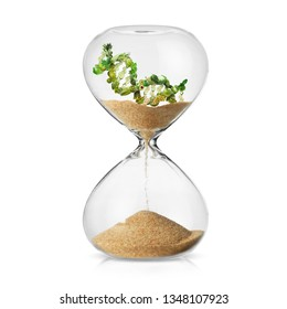 DNA strand made from green vegetables in a hourglass concept of losing time on nutrigenetics