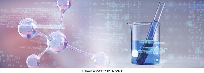 DNA structure against beaker with blue chemical solution