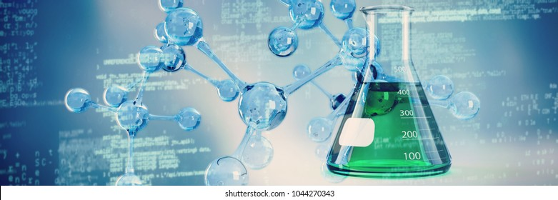 DNA structure against conical flask with chemical solutions