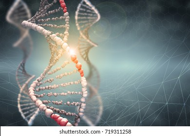 DNA structure Digital illustration in colour background. 3D rendering